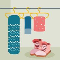 hanging clothes and boots vector
