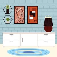 home furniture and lamp vector