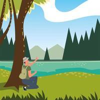 hombre en el bosque con arboles vector