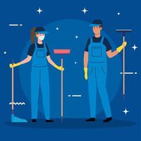 janitors team cleaning service, couple cleaners wearing medical mask, in uniform working with professional equipment of cleaner vector