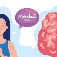 mental health concept, woman with healthy mind vector