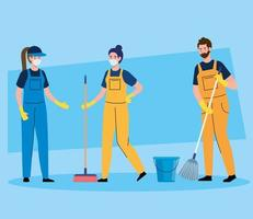 janitors team cleaning service, people cleaners wearing medical mask, in uniform working with professional equipment of cleaner vector