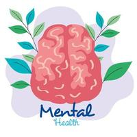 mental health concept, brain with leaves vector