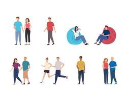 group people performing activities avatar characters vector