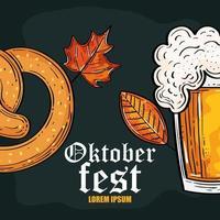 oktoberfest festival celebration with beer and pretzel vector