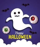 happy halloween banner, with ghost, eyeballs and bats flying in paper cut style vector