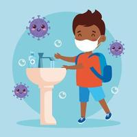 prevent covid 19, wearing medical mask, wash your hands, boy wearing protective mask, health care concept vector