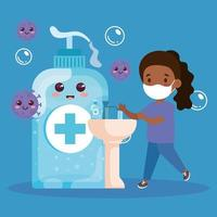 prevent covid 19, wearing medical mask, wash your hands, cute girl wearing protective mask, health care concept vector