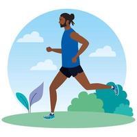 hombre corriendo en el paisaje, hombre en ropa deportiva trotando, atleta masculino, deportista vector