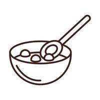 breakfast cereal in bowl with spoon line style vector