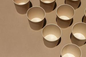 High angle cups with copy space photo