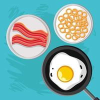 breakfast, egg, cereal and bacon vector