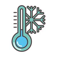 weather winter snowflake cold temperature line and fill style vector