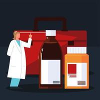female pharmacist and medicines vector