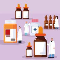 pharmacist characters and medicines vector