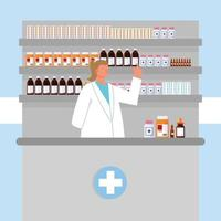 woman pharmacist and medicaments vector