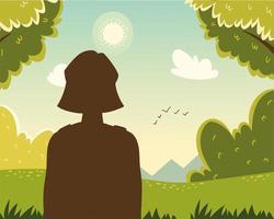 mujer mirando bosque vector