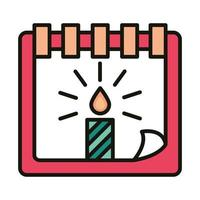happy birthday calendar reminder date with candle celebration party line and fill style vector