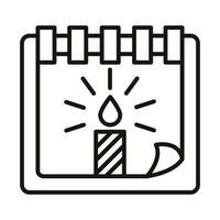 happy birthday calendar reminder date with candle celebration party line icon style vector