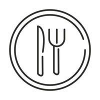 servicio de restaurante comida tenedor y cuchillo diseño de estilo de línea de señal vector