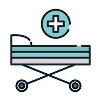 health medical stretcher equipment line and fill vector
