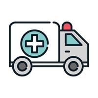 health medical transport ambulance emergency line and fill vector