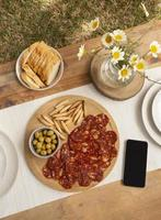 Tasty chorizo sausage arrangement at home photo