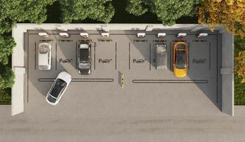 Top view electric cars in parking lot photo