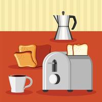 breakfast coffee, toaster and bread vector