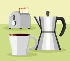 toaster bread and coffee pot vector