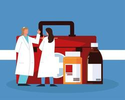 pharmacists with medicines vector