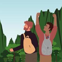 men with backpack in adventure vector
