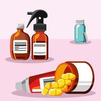 medicine, different treatments, capsules and spray vector