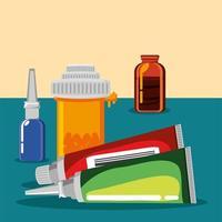 medicamentos, ungüentos y cápsulas vector