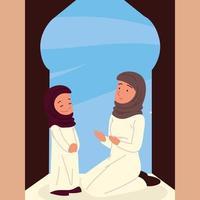 arabian woman and girl vector
