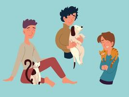men with their pets vector