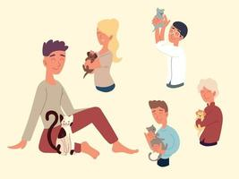 people playing with pets vector