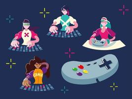 gamers, video game control and keyboard vector