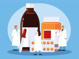 professional pharmacists and medicine vector