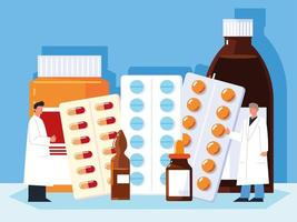 pharmacists choosing medicaments vector