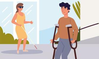 disabled woman and man vector