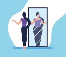 woman looking at mirror vector