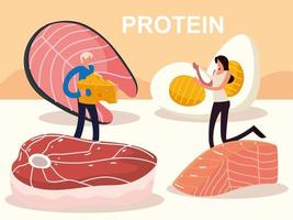 people and protein food vector