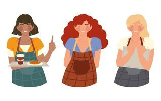 group of happy waitresses, restaurant employees with apron vector