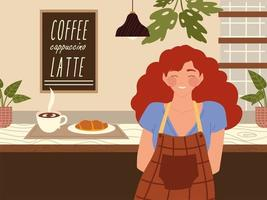 smiling female barista in apron with hot coffee and croissant on coffee shop counter vector