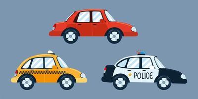 taxi, police, sedan cars vector