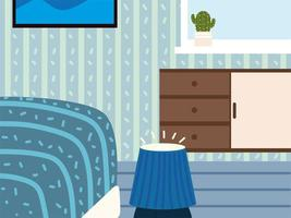 bedroom, bed and table vector