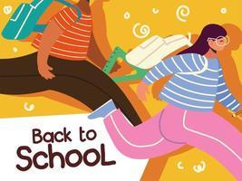 regreso a la escuela, estudiantes niño y niña corriendo con mochila escolar, educación vector