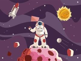 space astronaut with flag, surface planet spaceship, sun and moon vector