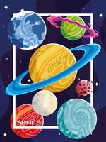 espacio, luna, planetas, asteroide, cosmos galaxia fondo oscuro vector